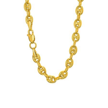 14k Yellow Gold 4.7 mm Puffed Mariner Bracelet Anklet Necklace 7