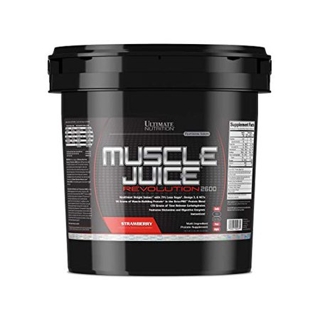 Ultimate Nutrition Muscle Juice Revolution Muscle Gainer Protein Powder with Egg Protein, and Micellar Casein, Strawberry, 11.1 Pounds