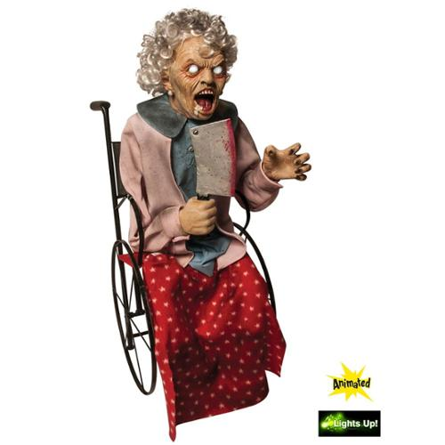 Animated Wheelchair Old Lady Prop