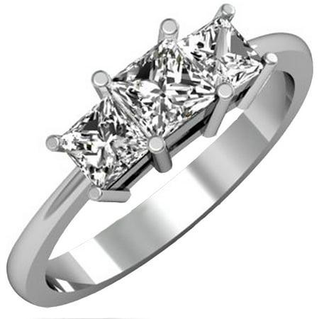 Dazzlingrock Collection 1.00 Carat (ctw) 14k Princess Cut Diamond Ladies Bridal 3 Stone Engagement Ring 1 CT, White Gold, Size 6.5