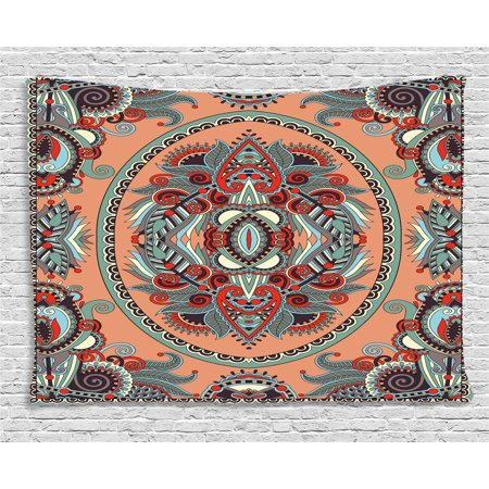 Floral Tapestry, Ethnic Theme Ukrainian Carpet Design with Flowers Paisley Pattern Illustration , Wall Hanging for Bedroom Living Room Dorm Decor, 60W X 40L Inches, Salmon Sky Blue, by Ambesonne