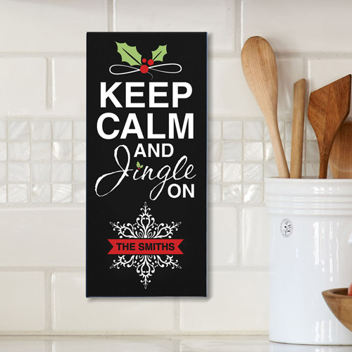 Personalized Keep Calm and Jingle On Canvas