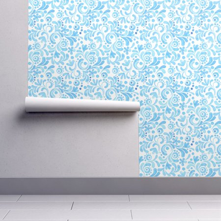 Blue Scroll Wallpaper (Wallpaper Roll or Sample: Branch Abstract Floral Ornament Scroll Blue Hand)
