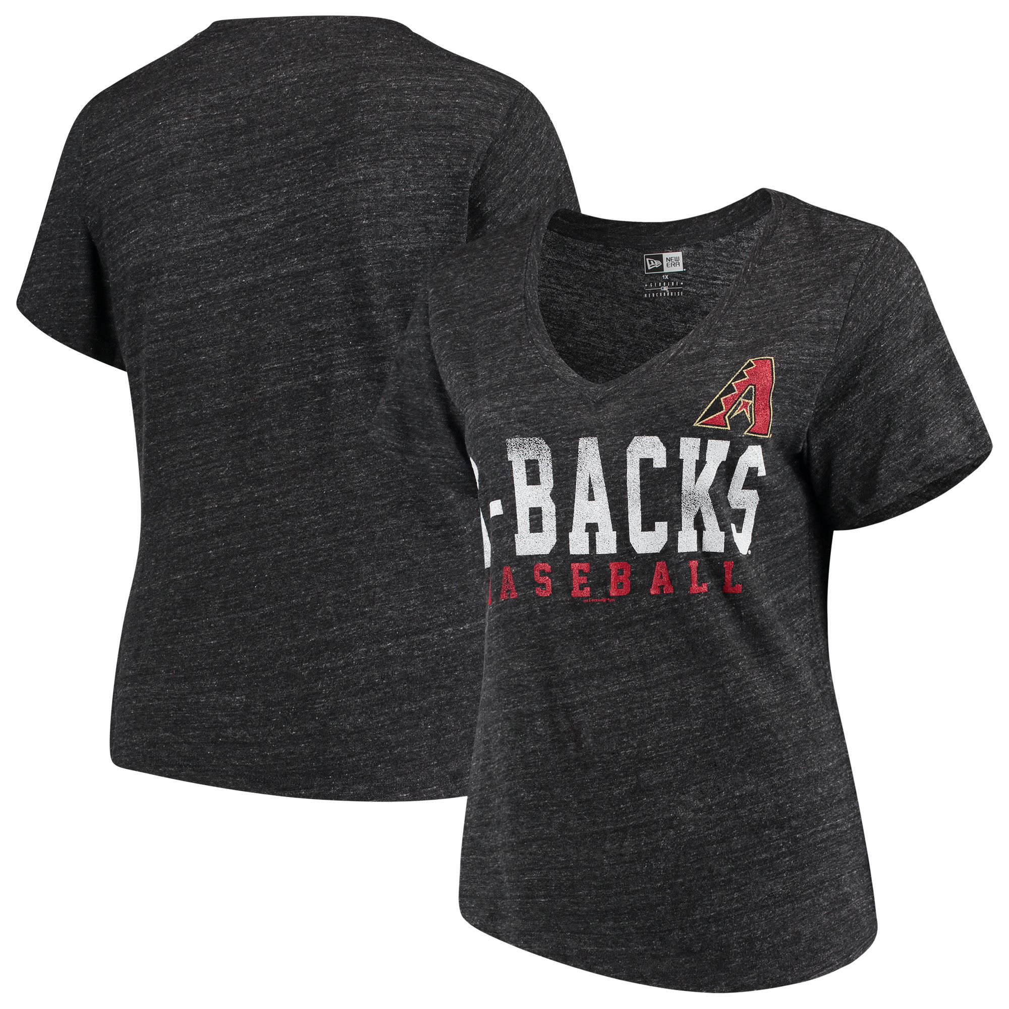 Arizona Diamondbacks 5th & Ocean by New Era Women's Plus Size Tri-Blend Jersey V-Neck T-Shirt - Black
