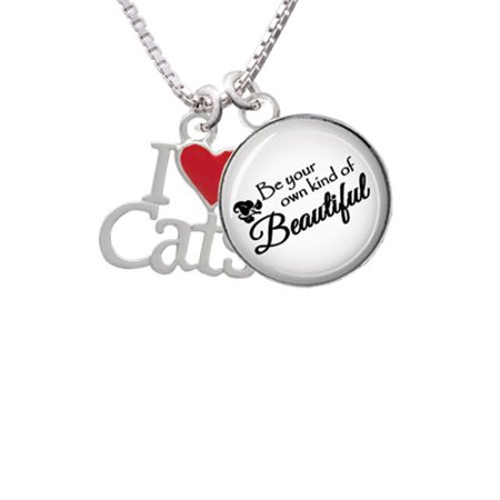 (I Love Cats with Red Heart Be Your Own Beautiful Glass Dome Necklace, 18