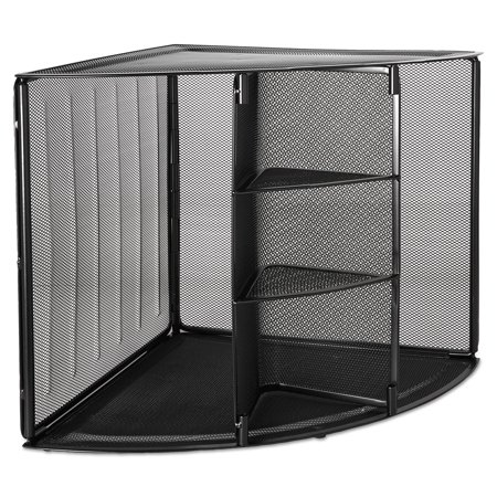 Rolodex Mesh Corner Desktop Shelf, Five Sections, 20 x 14 x 13, Black (Corner Section Top)