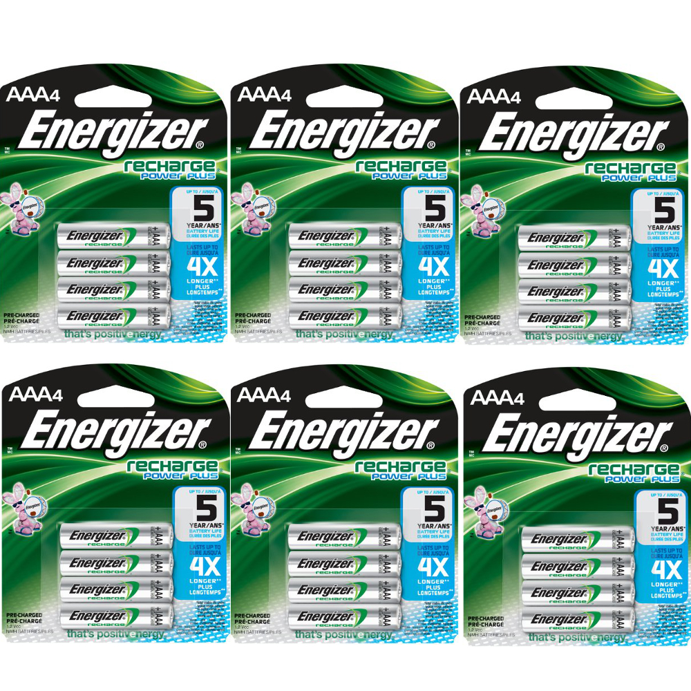 Energizer AAA Rechargeable Batteries 4 Pack, 6 Count = 24 Batteries by