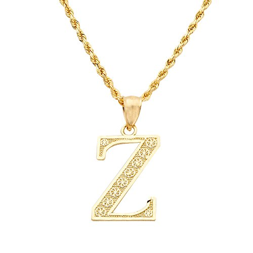 Details about  /10K Yellow Gold Small Initial Pendant Charm Diamond Cut A ~ Z Alphabet