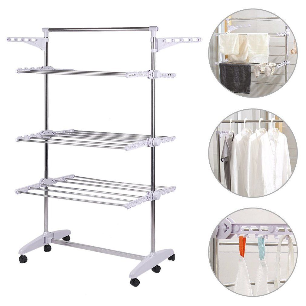 3 Tier Stainless Organizer Folding Drying Rack Clothes Drier Hanger
