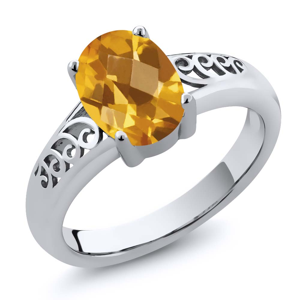 1.30 Ct Oval Checkerboard Yellow Citrine 18K White Gold Ring