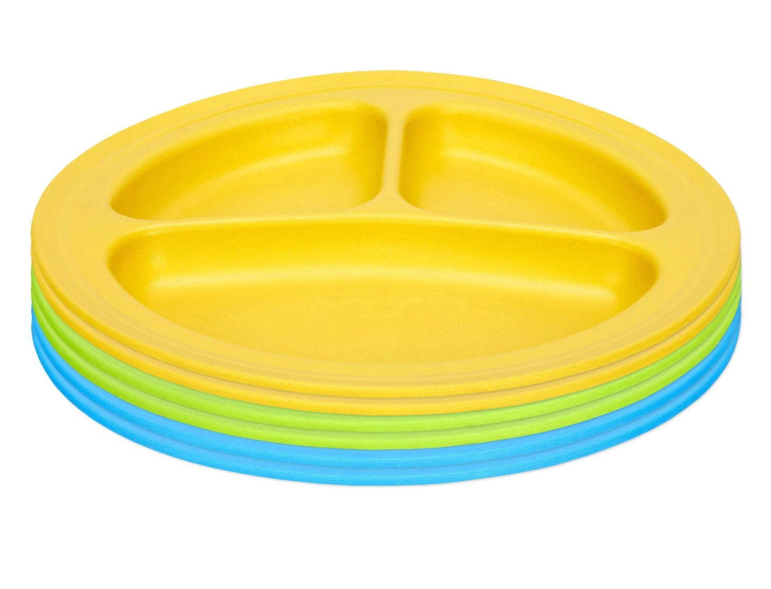 Green Eats Divided Feeding Plate, 6 Count, Blue Green Yellow by Green Eats