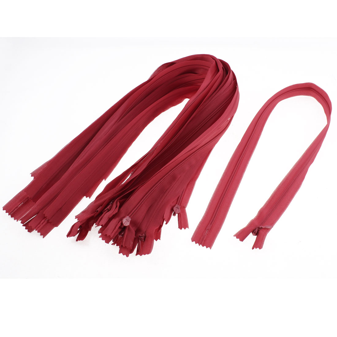 Unique Bargains Dress Pants Closed End Nylon Zippers Tailor Sewing Craft Tool Red 55cm 20 Pcs