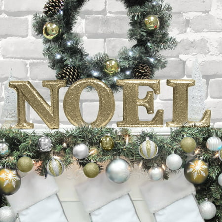 holiday time christmas decor 8 decorative noel letter set glitter gold - Christmas Letter Decorations