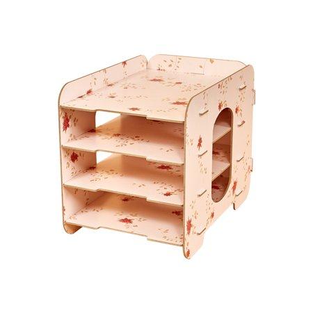 - 4 Compartments Desktop File Organizer Sorter Wood Document Holder Storage Shelf for Office School