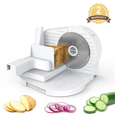 MLITER Portable Plastic Food Slicer, 150W Motor 6.7 Inch Serrated Stainless Steel Blades Thickness Adjustable For Bread Cheese Vegetables Fruits Meats