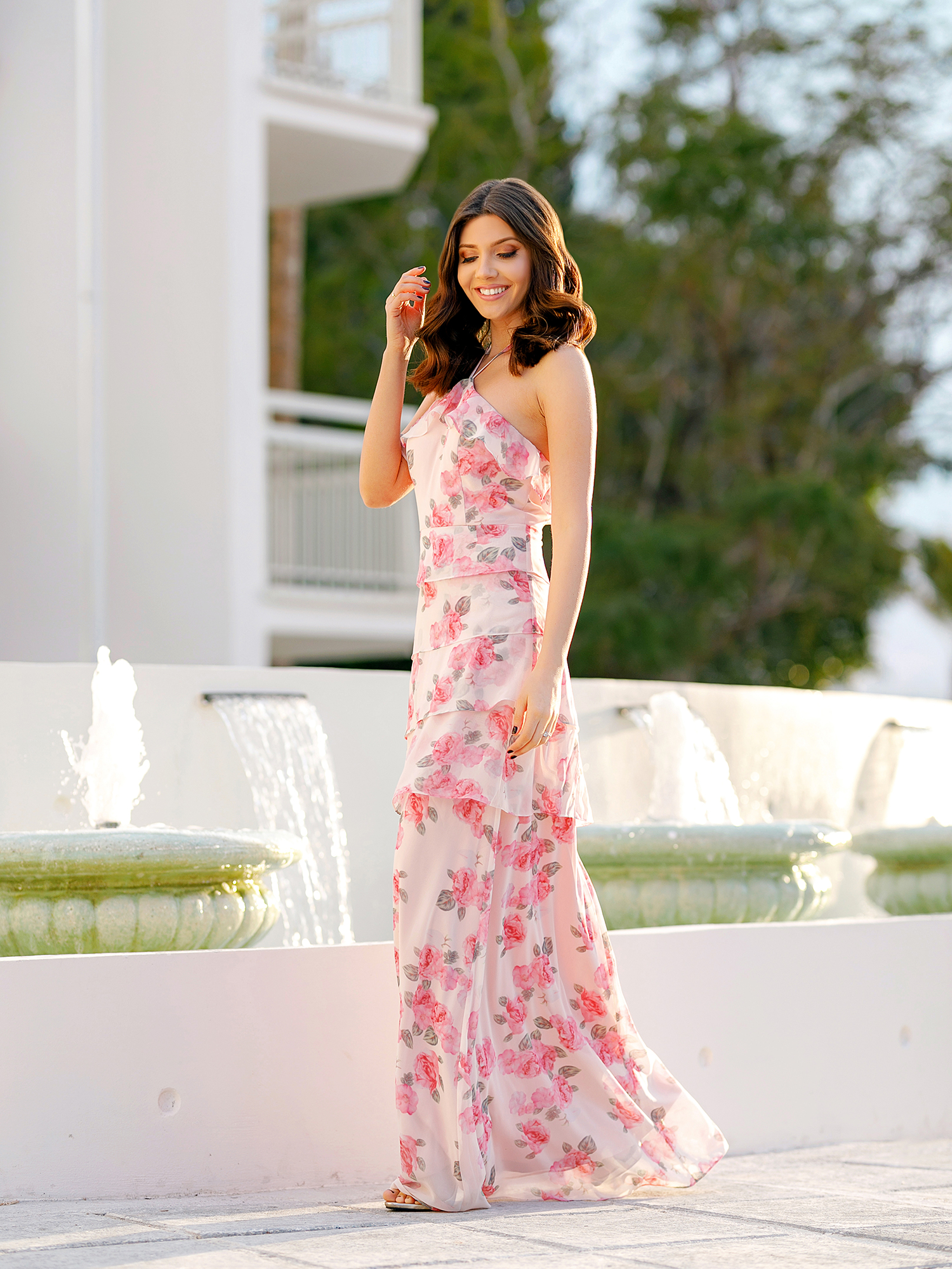 8f656c320d8 Ever-pretty - Ever-Pretty Women s Full-Length Halter Neck Floral Print  Summer Cocktail Party Beach Wedding Guest Dress for Women 07239 Pink US 6 -  Walmart. ...