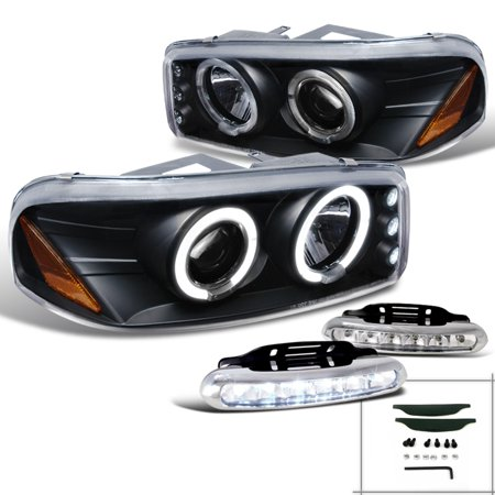 Spec-D Tuning For 2000-2006 Gmc Yukon Denali Xl Halo Black Led Projector Headlights W/Led Fog Lamp (Left+Right) 2000 2001 2002 2003 2004 2005