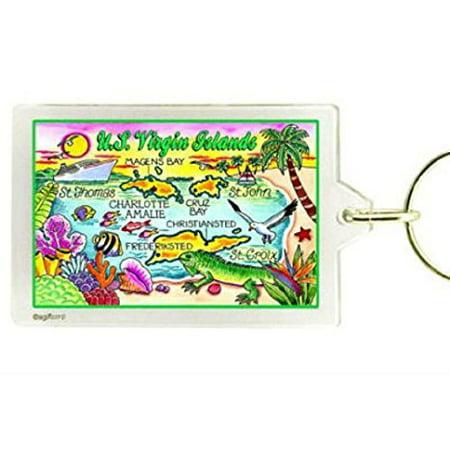 US Virgin Islands Map Acrylic Rectangular Souvenir Keychain 2.5 inches X 1.5