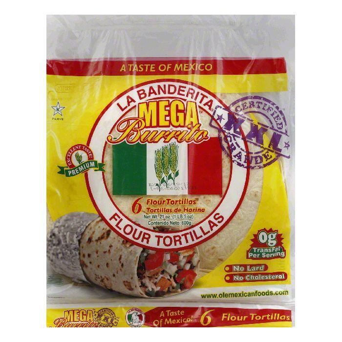 La Banderita Mega Burrito Tortilla, 21 OZ (Pack of 12)