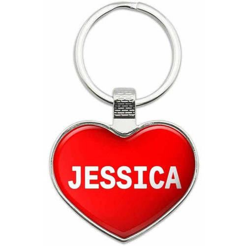 Jessica - I Love Name Metal Heart Keychain Key Chain Ring, Multiple Colors Available