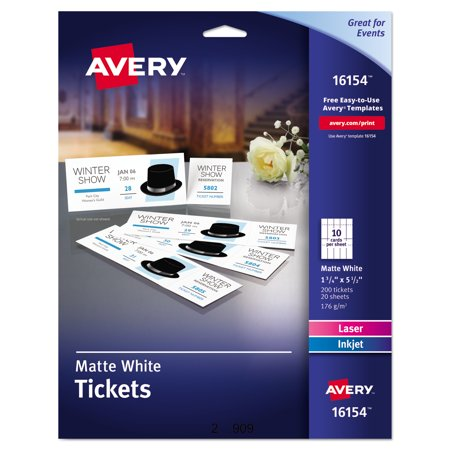 Avery Printable Tickets With Tear Away Stubs  1 3 4  X 5 1 2   Matte White  200 Tickets Pack