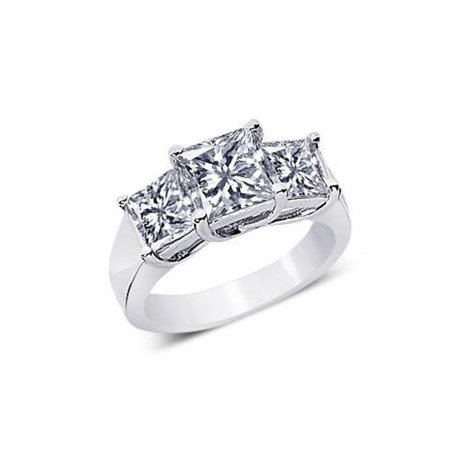 - Harry Chad HC13059-6 2.51 CT 3 Stone Princess Diamonds Antique Style Engagement Ring - Color F - VS1 & VVS1 Clarity
