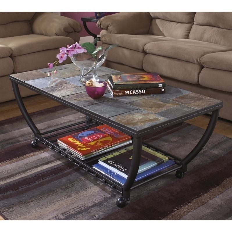 Bowery Hill Slate Tile Rectangular Coffee Table And Casters In Black - Tile top coffee table ashley furniture