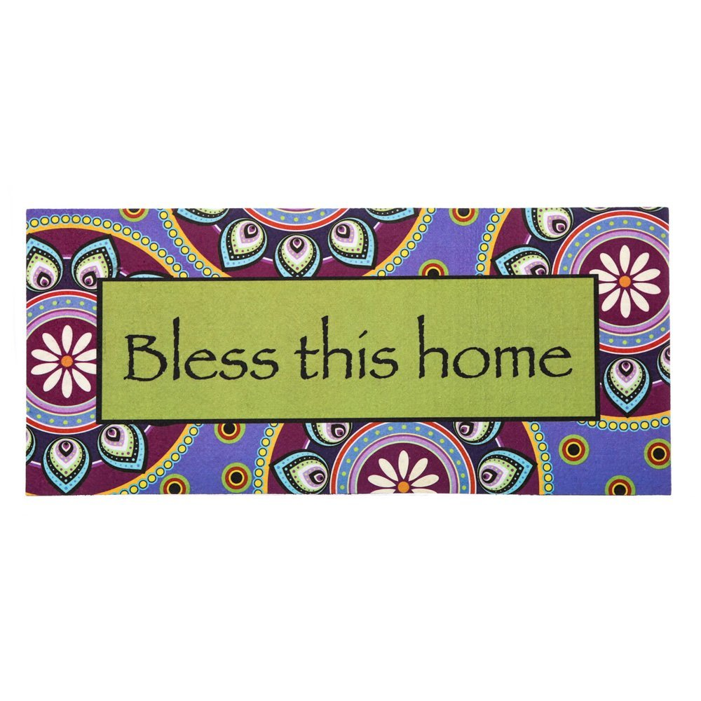 Sassafras Decorative Insert Mat, 10x22 Inches, Bless this Home, Welcome guests to your home with a seasonal doormat display! By Evergreen from USA