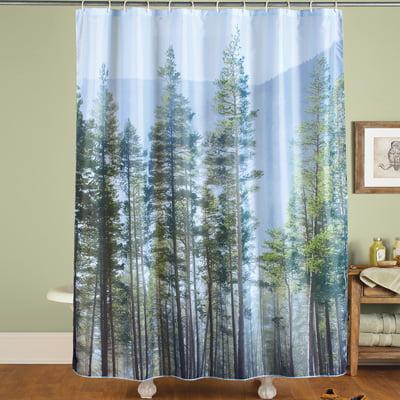 Pine Forest Scene Shower Curtain