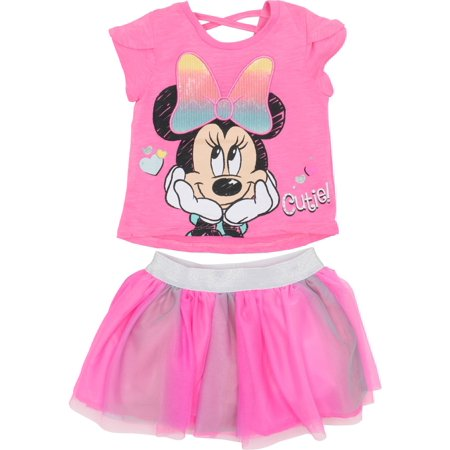 e5aa4b4043 Minnie Mouse - Disney Minnie Mouse Toddler Girls  Fashion T-shirt and Tulle  Skirt Set