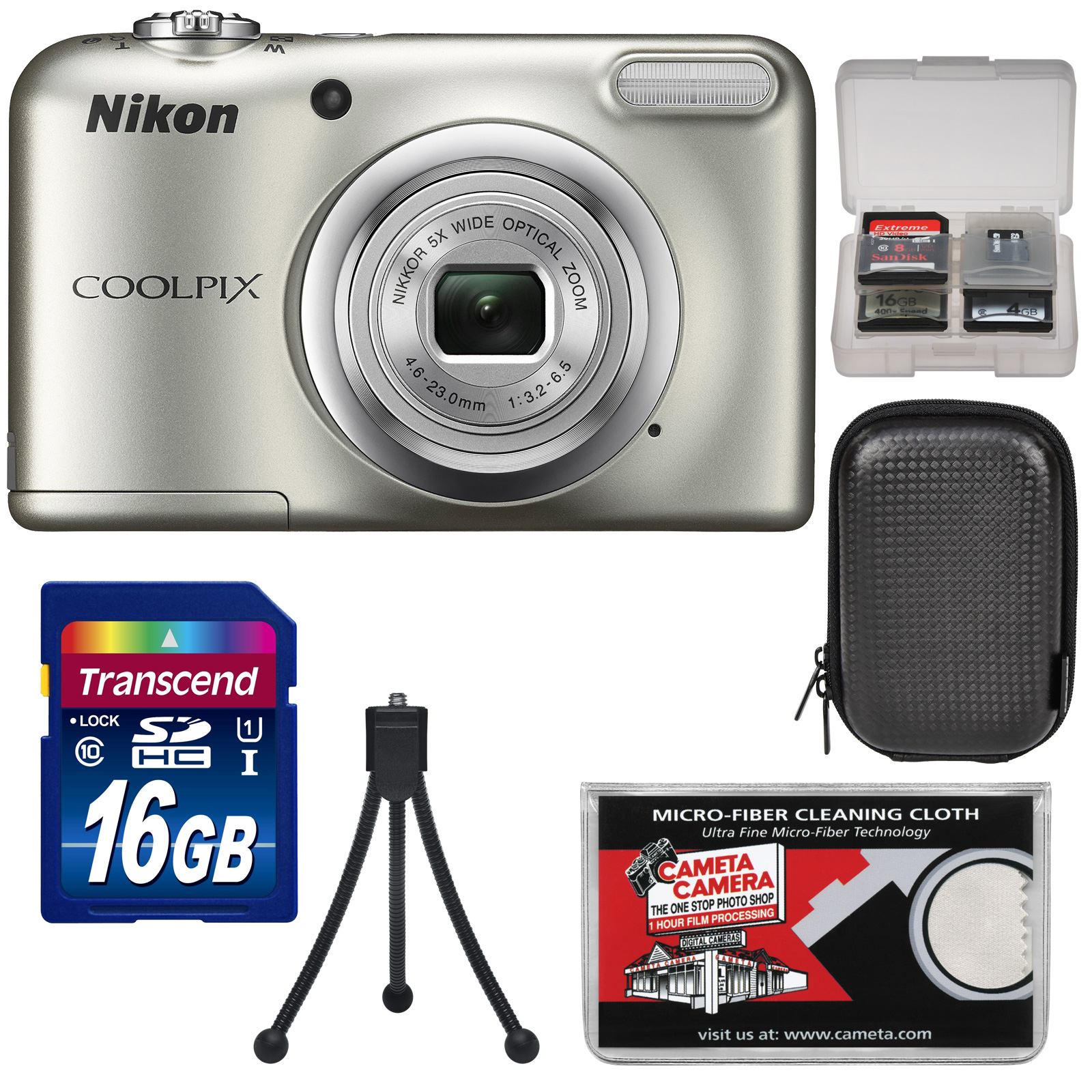 Nikon Coolpix A10 Digital Camera (Silver) with 16GB Card + Case + Tripod + Kit