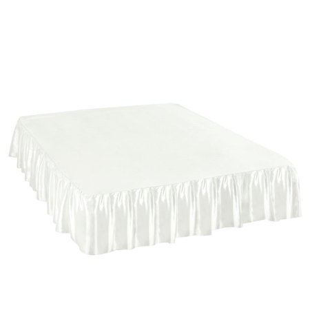 Bed Skirt Satin Silk Wrap Around Dust Ruffle 14 Inch Drop White Queen - image 1 of 1