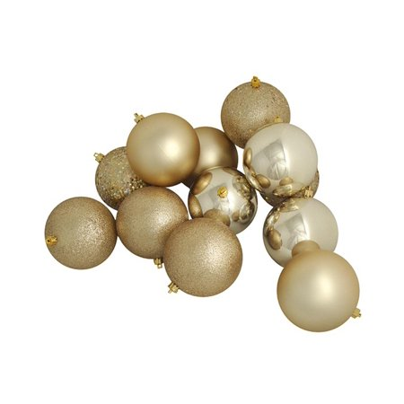 16ct Champagne Gold Shatterproof 4-Finish Christmas Ball Ornaments 3