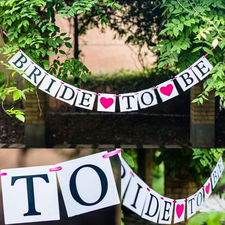 Meigar Meigar 240cm/94'' BRIDE TO BE Bunting Banner Wedding Garland Photo Props Party Hanging Decoration Flag Valentine's Day Decoration - Valentine Banner