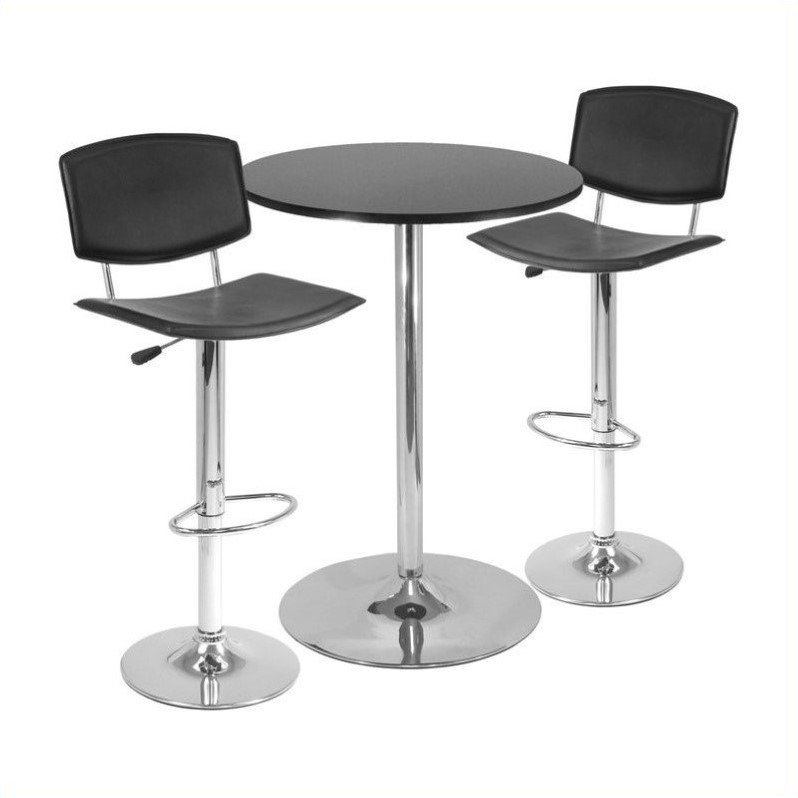 "Spectrum 3pc Pub Table Set, 28"" Round Table with 2 Airlift Stools"