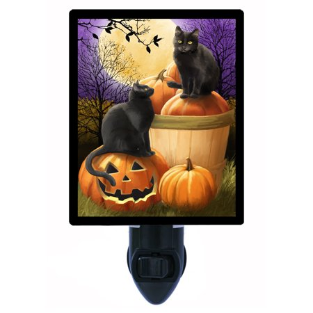 Halloween Cat Night Light (Night Light - Photo Light - Midnight Rendezvous - Cats and Pumpkins -)