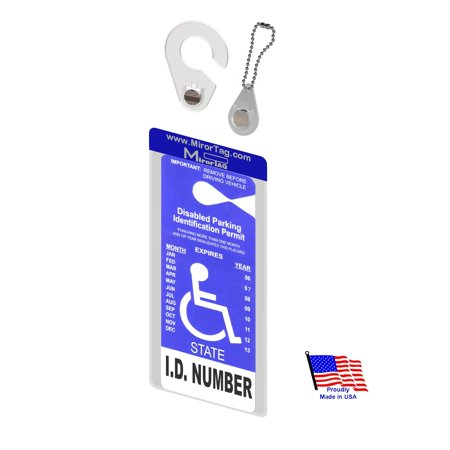Mirortag Holder with 1 Hook & 1 Charm- Handicap Placard Holder. Easily Display & Put Away your handicap tag. Tag size up to 10