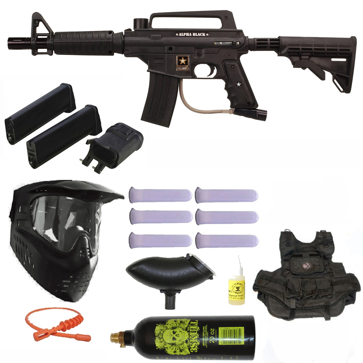 US Army Alpha Black Elite Paintball Gun w/ Mag Fed Adapter 3Skull Vest Mega Set