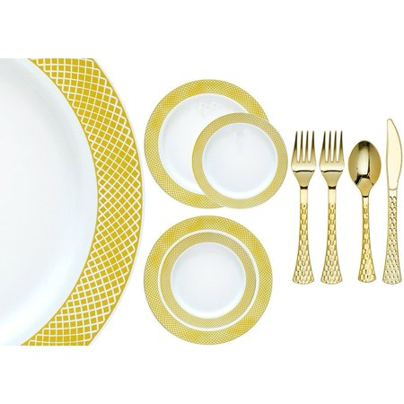 Royalty Settings Crystal Collection Plastic Cutlery and Premium Plastic Plates for Wedding, White/Gold, 20, 40, 80, 120 Settings