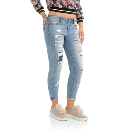 No Boundaries Juniors' Destructed Relaxed Rolled Cuff Skinny Jeans