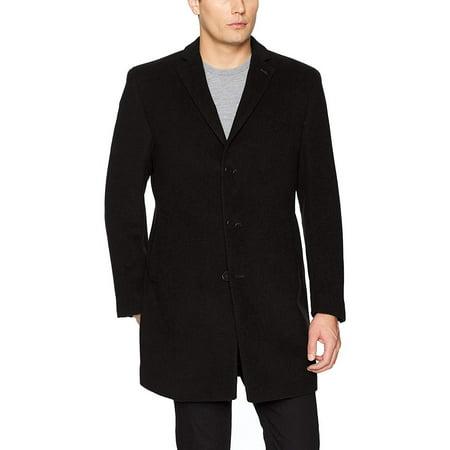 (Calvin Klein Men's Modern Fit Wool Blend Jacket, Black Solid, 46 Regular)