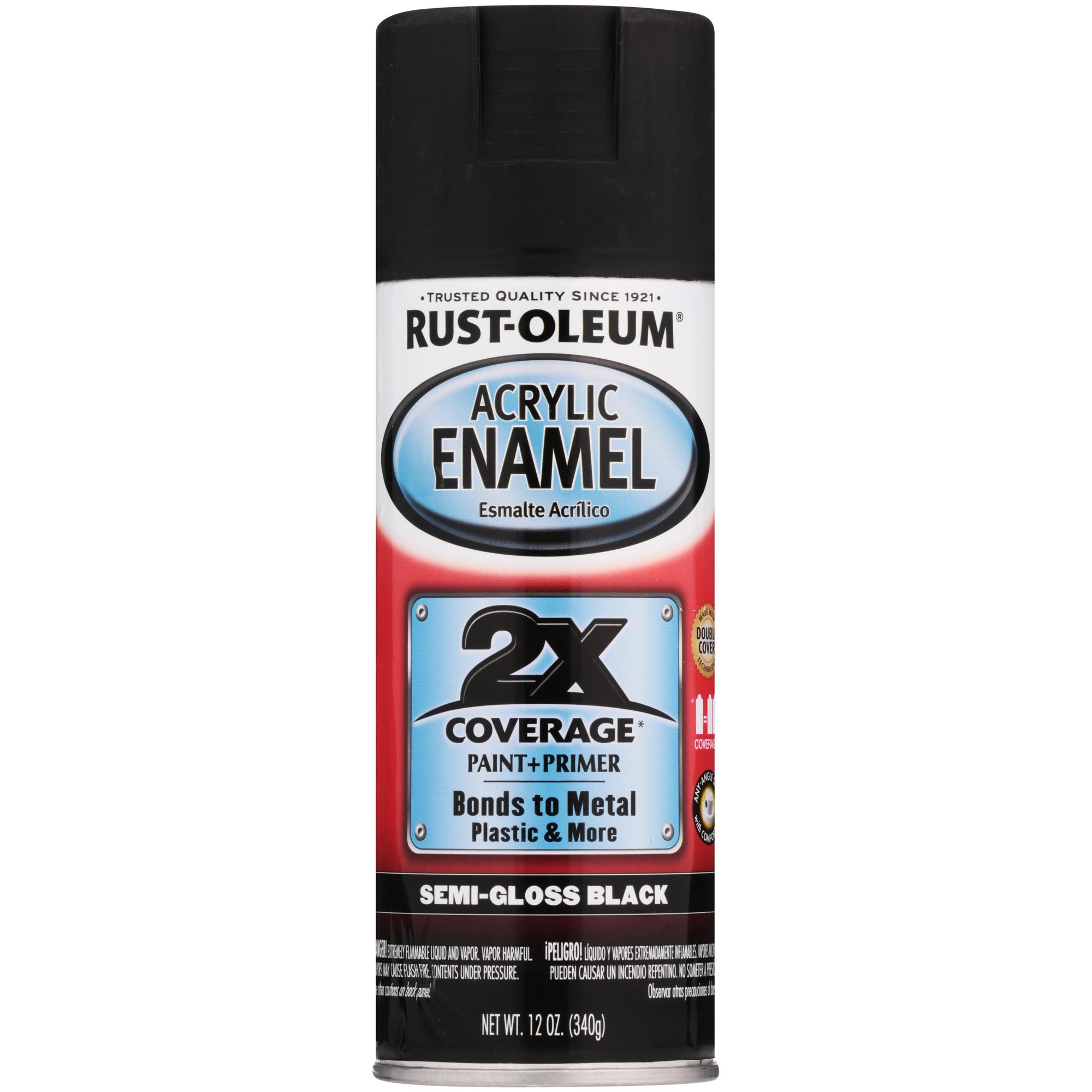 Rust-Oleum® Acrylic Enamel Semi-Gloss Black Spray Paint + Primer 12 oz. Can