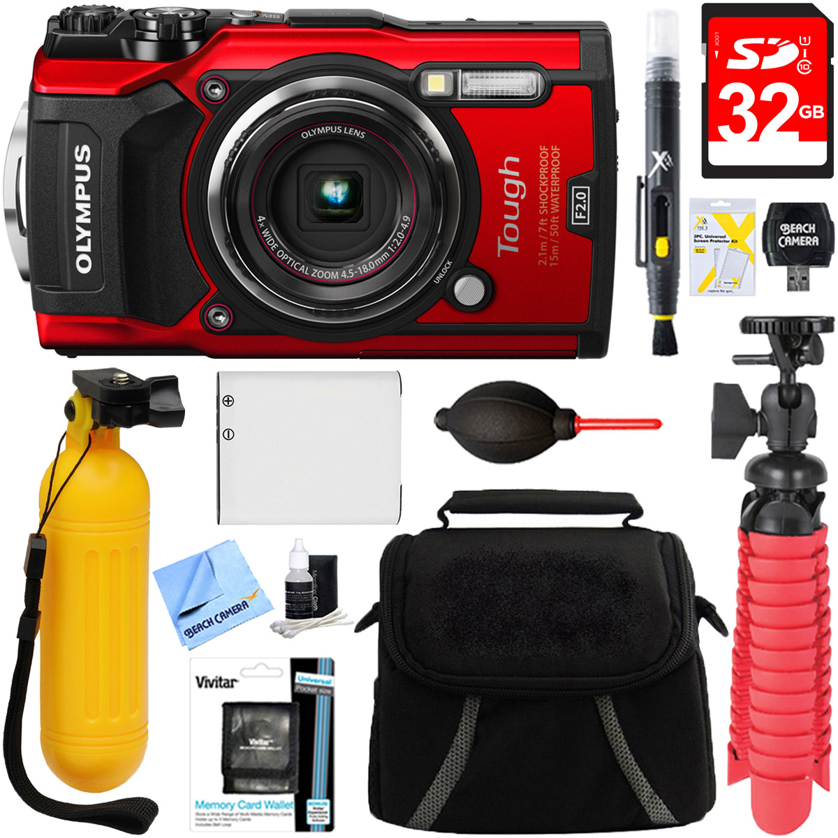 Olympus TG-5 12MP 4x Optical Zoom Digital Camera (Red) + ...