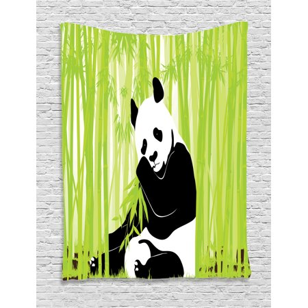Animal tapestry wall hanging panda bear in bamboo forest for Panda bear decor