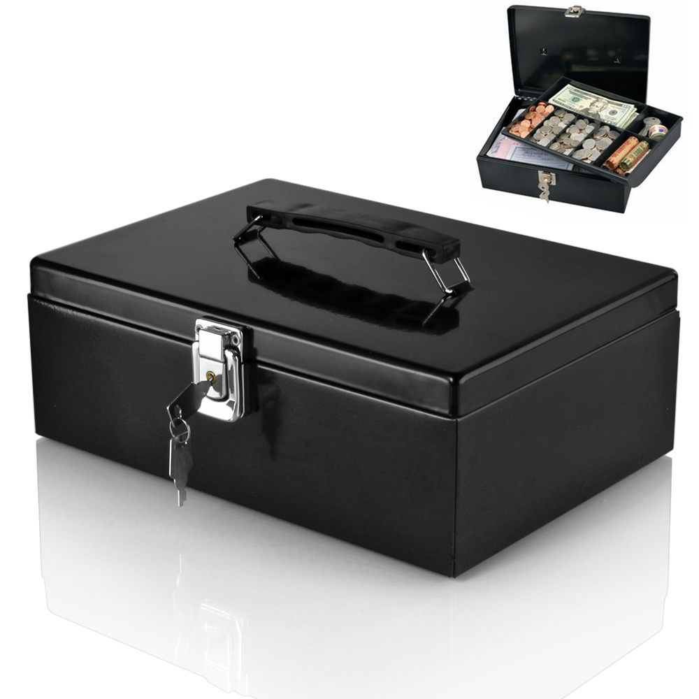 Cash Box Locking Latch with Removable 7-Compartment Tray Steel Construction Cashier Drawer Money Safe Security Fits Currency Coins Bills Checks Black