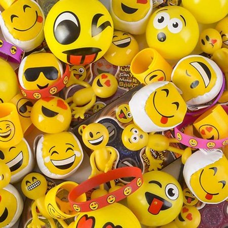 Kidsco Assorted Emoticon Party Supplies - 50 Pieces - Cool and Fun Emoji With Multiple Smiley Faces - Great Party Favor, Party Bag Stuffer, Giveaways - Emoji Smiley Face