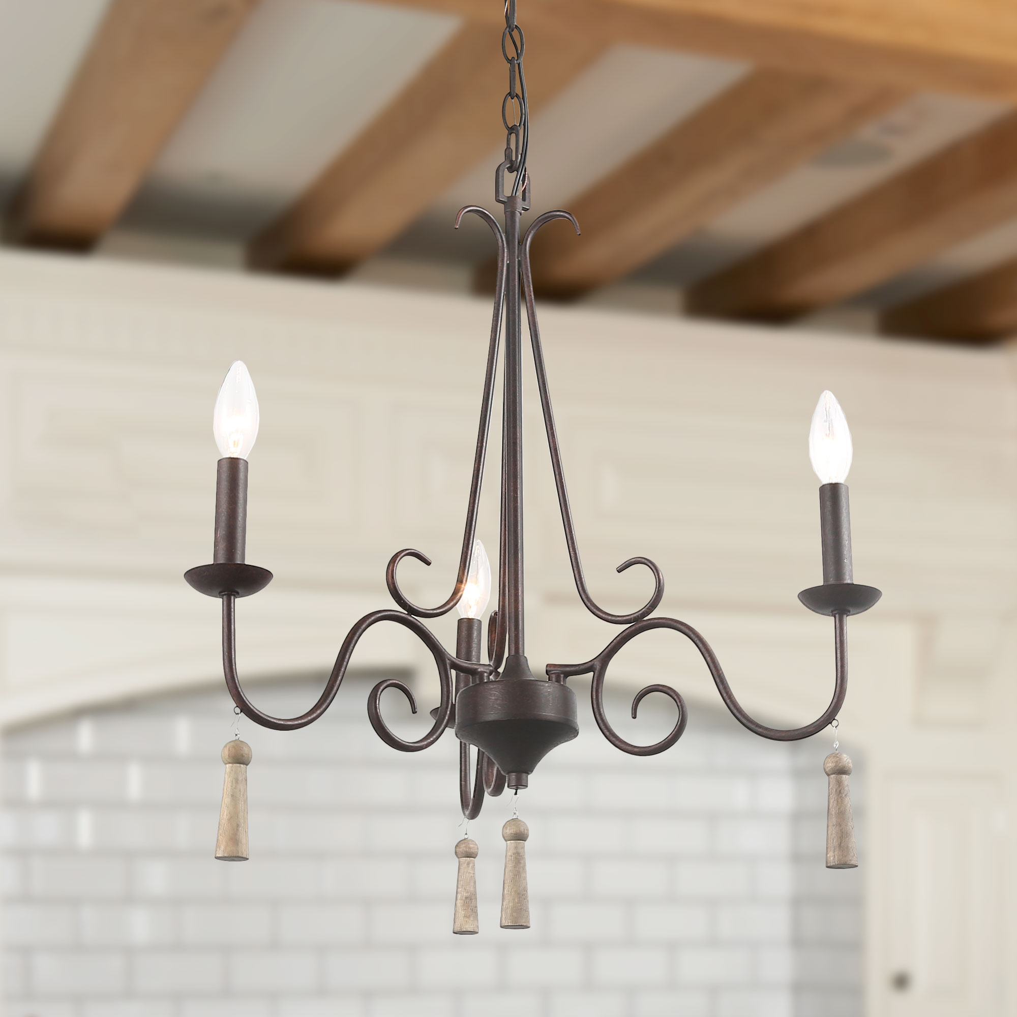 Lnc Kitchen Island Pendant Lights For Dning Room Rustic French Country Chandeliers Lights For Indoor Home Decro Transitional Chandelier 3 Lights Wood Pendant For Living Room Walmart Com Walmart Com