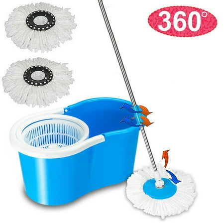 Top Knobs Spin Mop and Bucket System – 360° Self Wringing Spinning Mop with Stackable Bucket On Wheels and 2 Machine Washable Microfiber Mop Heads, Blue