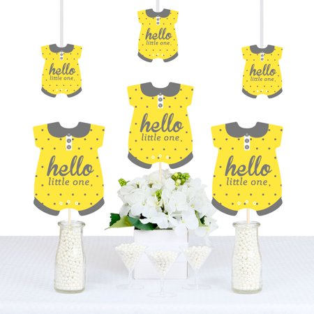Hello Little One - Yellow and Gray - Baby Bodysuit Neutral Baby Shower Decorations DIY Party Essentials - Set of 20
