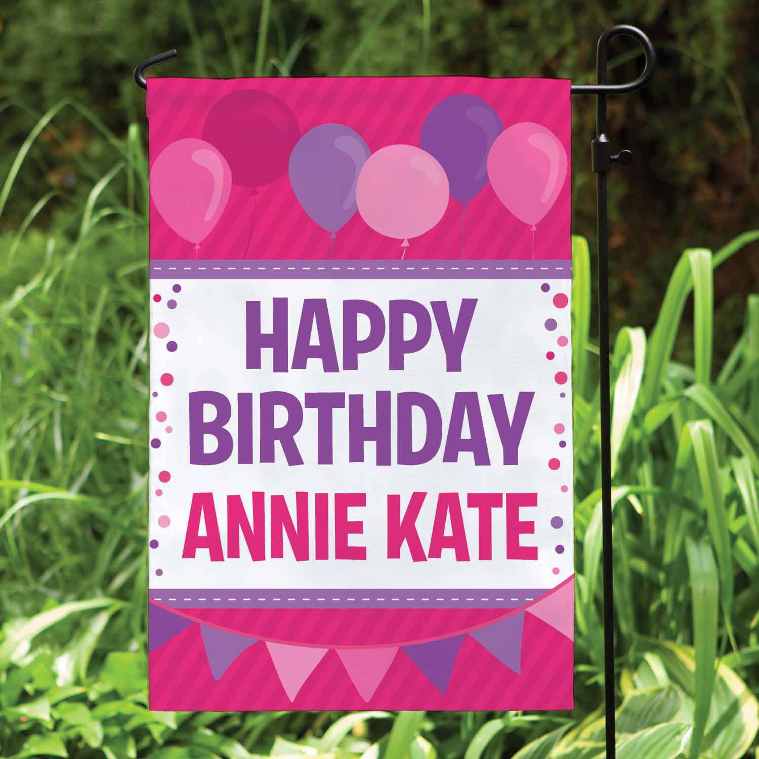 Personalized Birthday Garden Flag, Pink and Purple